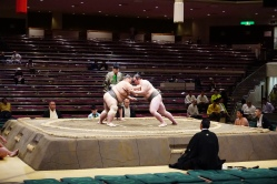 Two wrestlers fighting it out