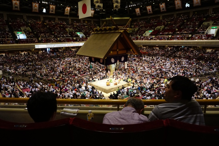 The sumo area, now packed full of spectators