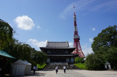 Zojo-ji Temple with Tokyo Tower in the background