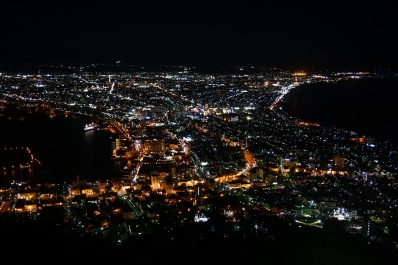 The view of from Mt Hakodate at night