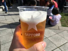 Drinking a Sapporo Beer while in Sapporo