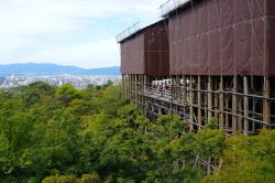 Kiyomizudera is covered for renovation, but the stage is still open