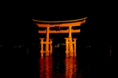 The torii gate after dark