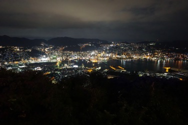 View of central Nagasaki at night