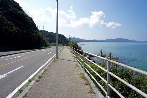 Heading back along the coastal road