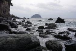 Rocky shores of Jeongbang Falls