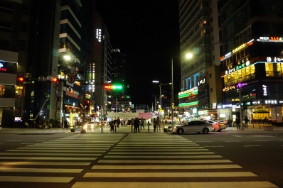 Walking back to the Haeundae metro station