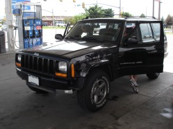 I taped up the other side of the jeep at a gas station