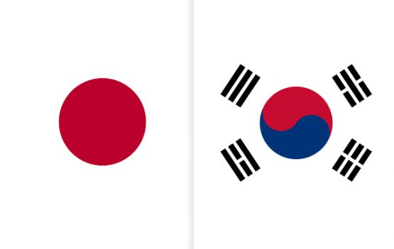 Flags of Japan and Korea