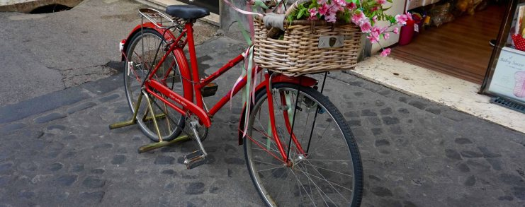 Rome Italy Bicycle Flowers