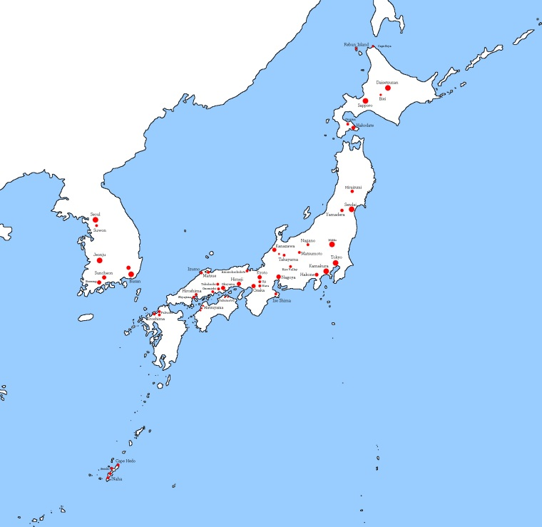Japan Korea Map