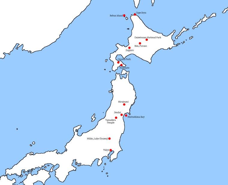 Japan Korea 2019 Journey North Map
