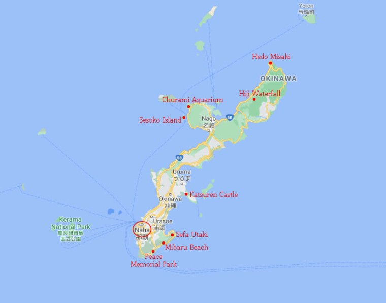 Japan Korea 2019 Okinawa Map